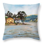 Houses Next To Water Throw Pillow