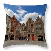 Houses Of Jan Van Eyck Square In Bruges Belgium Throw Pillow