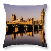 Houses Of Parliament With Westminster Bridge. Throw Pillow
