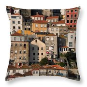 Houses Of Porto In Portugal Throw Pillow