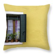 Houses Of Venice - Yellow  Throw Pillow