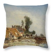 Houses On A Waterway Near Crooswijk Throw Pillow