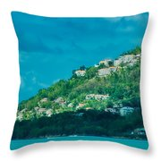 Houses On Hillside In St Lucia Throw Pillow
