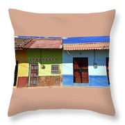Houses On Street In Leon, Nicaragua Throw Pillow