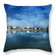 Houses Reflecting In The Bay Throw Pillow