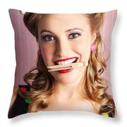 Housewife Doing Cleaning And Pin-up Laundry Chores Throw Pillow