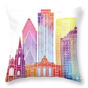 Houston Landmarks Watercolor Poster Throw Pillow