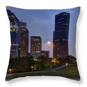 Houston Nighttime Skyline Throw Pillow