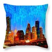 Houston Skyline 110 - Pa Throw Pillow