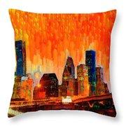 Houston Skyline 116 - Pa Throw Pillow