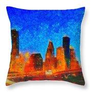 Houston Skyline 130 - Pa Throw Pillow