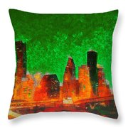 Houston Skyline 133 - Pa Throw Pillow