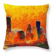 Houston Skyline 135 - Pa Throw Pillow