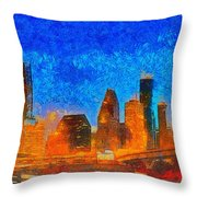 Houston Skyline 40 - Pa Throw Pillow