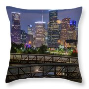 Houston Skyline Over Buffalo Bayou At Twilight Throw Pillow