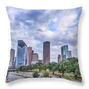 Houston Skyline View Throw Pillow