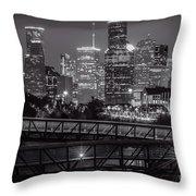 Houston Skyline With Rosemont Bridge In Bw Throw Pillow