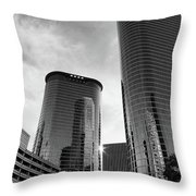 Houston Skyscrapers Black And White Throw Pillow