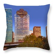 Houston Texas Skyline At Dusk Throw Pillow