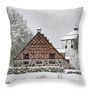 Hovdala Castle Gatehouse And Stables In Winter Throw Pillow