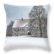 Hovdala Castle Main House In Winter Throw Pillow