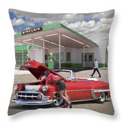 Over Heating At The Sinclair Station Throw Pillow