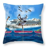 Hoverboarding Across The Atlantic Ocean Throw Pillow