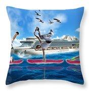 Hoverboarding Across The Atlantic Ocean Throw Pillow