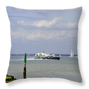 Hovercraft Passing Ryde Harbour Mouth Throw Pillow