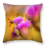 Hoverfly Thistle #g7 Throw Pillow