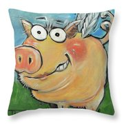 Hovering Pig Throw Pillow