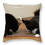 How Cat Fights Start Throw Pillow