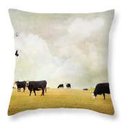 How Now Black Cow Throw Pillow
