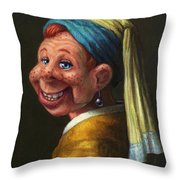 Howdy With A Pearl Earring Throw Pillow