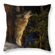 Howl In The Woods Throw Pillow
