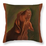 Howling Bloodhound Throw Pillow