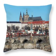 Hradcany - Cathedral Of St Vitus And Charles Bridge Throw Pillow
