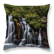 Hraunfossar In The Gloom Throw Pillow