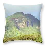 Huahine Forest And Mountaintop Throw Pillow