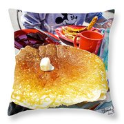 Hub Cap Pancakes At Loulou's On The Commercial Pier In Monterey-california  Throw Pillow