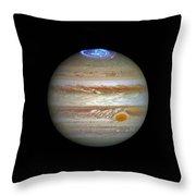 Hubble Captures Vivid Auroras In Jupiter's Atmosphere Throw Pillow