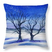 Huddled On A Snowy Field.  Throw Pillow