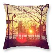 Hudson River Winter Sunset Throw Pillow