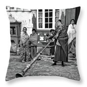 Huff And Puff Bw Throw Pillow