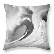 Huge Curling Wave - Bw Throw Pillow