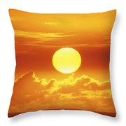Huge Orange Sun Throw Pillow