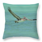 Huge Wing Span On A Pelican In Flight Throw Pillow