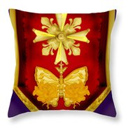 Huguenot Cross And Shield Throw Pillow by Anne Norskog
