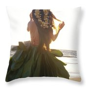 Hula At Sunrise Throw Pillow
