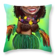 Hula Dancer Throw Pillow